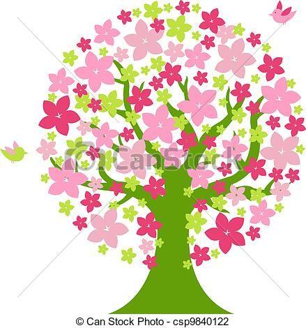 Ilustraciones de Vectores de rbol con Color flores  rbol