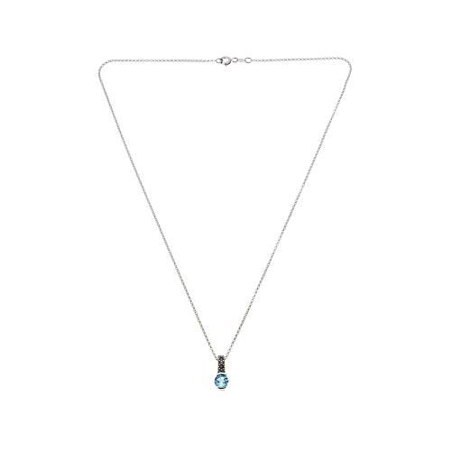 "Marcasite and Swiss Blue Topaz Sterling Silver Drop Pendant with 18"" Rolo Chain - December"