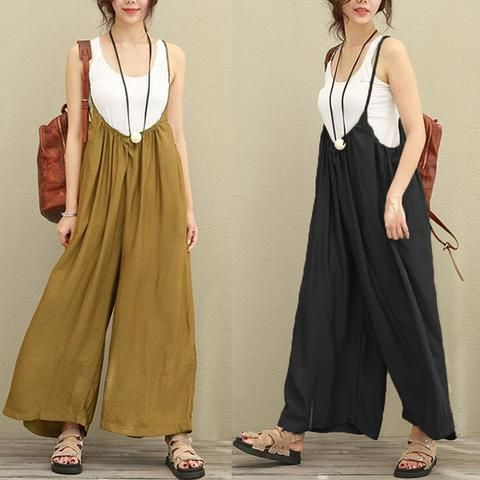 78b3c3e178f3 2018 New ZANZEA Women Overalls Rompers Plus Size S-5XL Sleeveless Dungarees  Long Trousers Wide Leg Pants Cotton Linen Jumpsuits