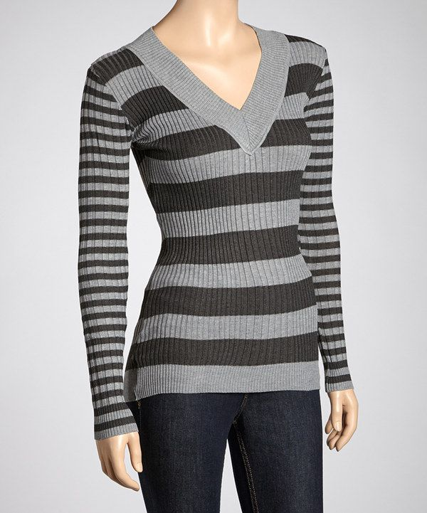 Take a look at this Heather Gray & Charcoal Stripe Sweater on zulily today!