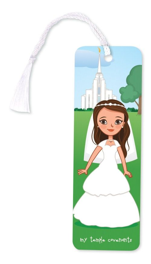 LDS Baptism to Temple Marriage 3D Bookmark. This bookmark changes from a girl in her baptism dress to a woman in her wedding dress. Great baptism gift.