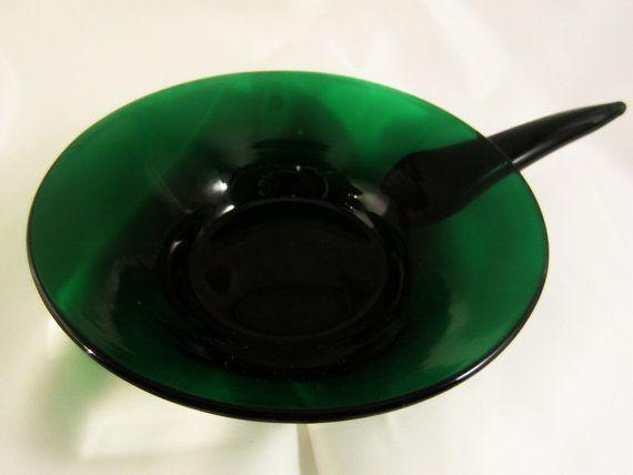 Vintage Blenko Handblown Bowl Forest Green Dessert Bowl by DsTrove