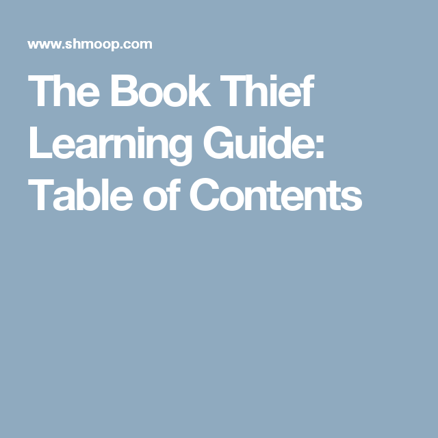 The Book Thief Learning Guide Table Of Contents Literature