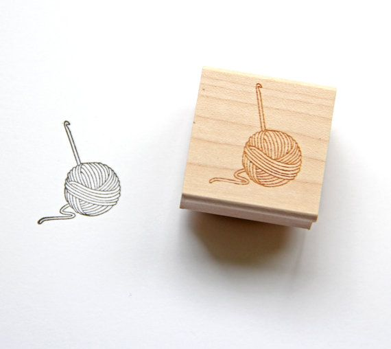 Crochet Yarn Ball Stamp, DIY Crochet Stamp, Crochet Hook, Gift for Crocheter