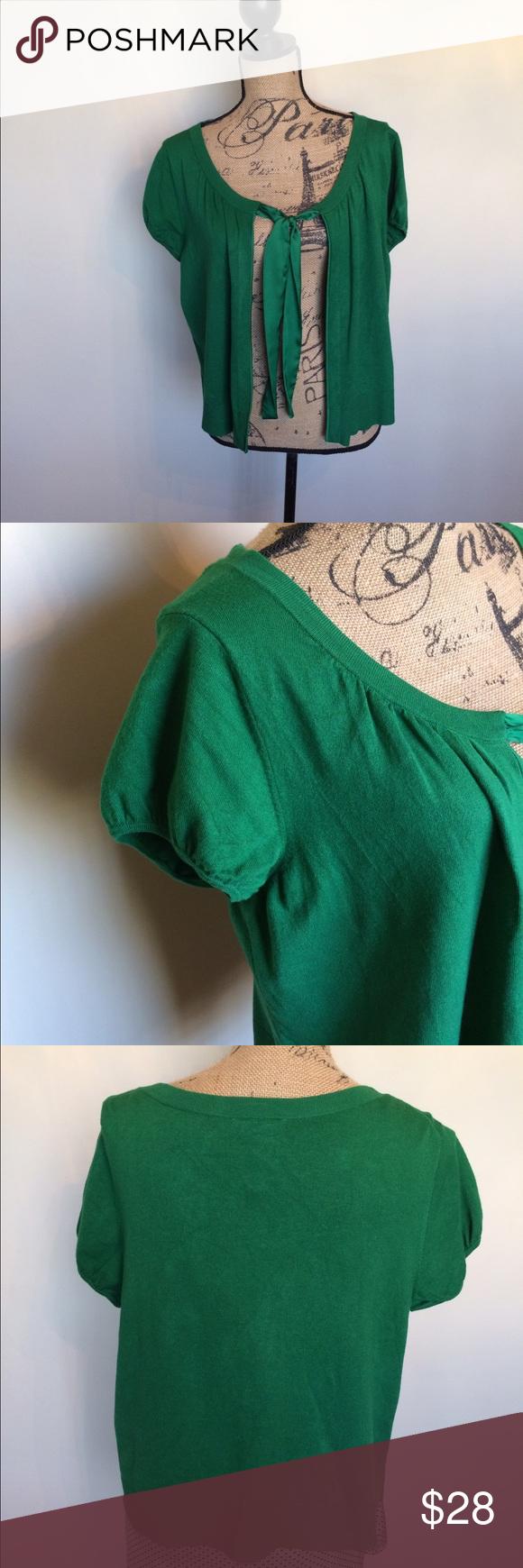 🍀LOFT Kelly green shrug sweater w/satin tie🍀 | Sweater cardigan ...