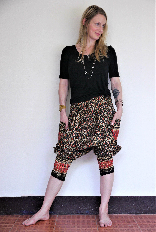 206f82148b Bohemian pants, Harem pants, Black w red, gold and blue royal print ...