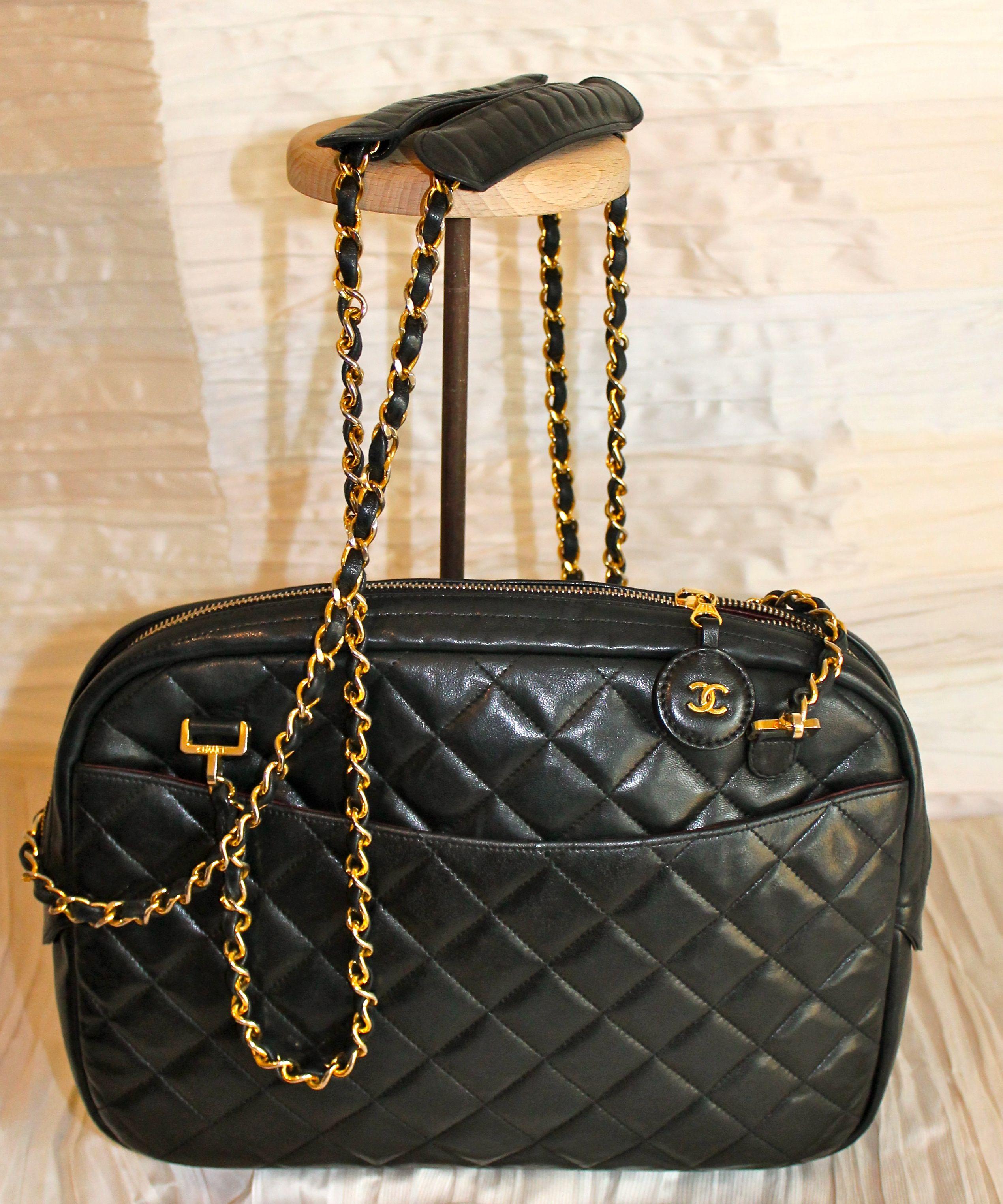 Borse Con Catena Chanel.Borsa Grande Chanel In Agnello Nero Matelasse Doppia Tracolla A