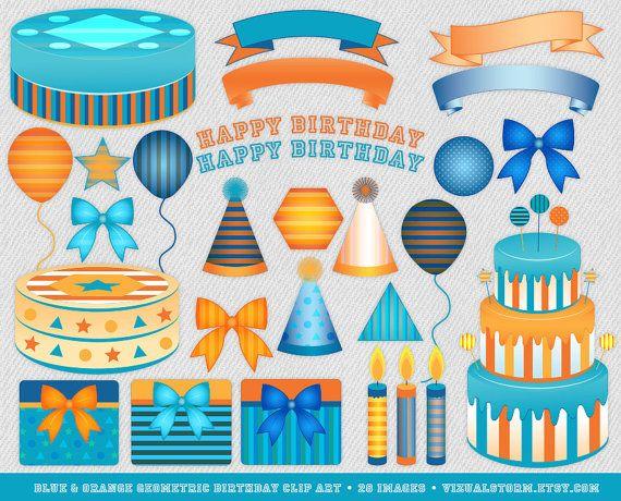 Blue And Orange Birthday Clip Art Geometric Theme Illustrations
