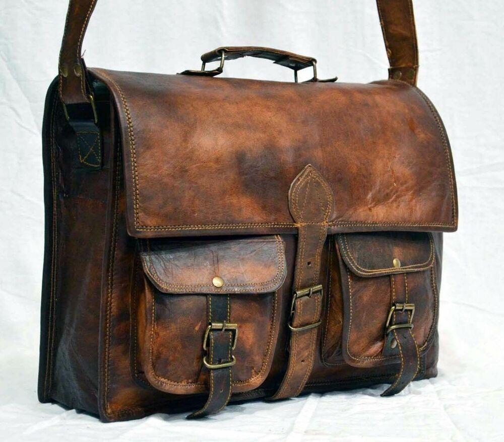 Mens vintage genuine leather bag handmade laptop bag shoulder messenger Satchel