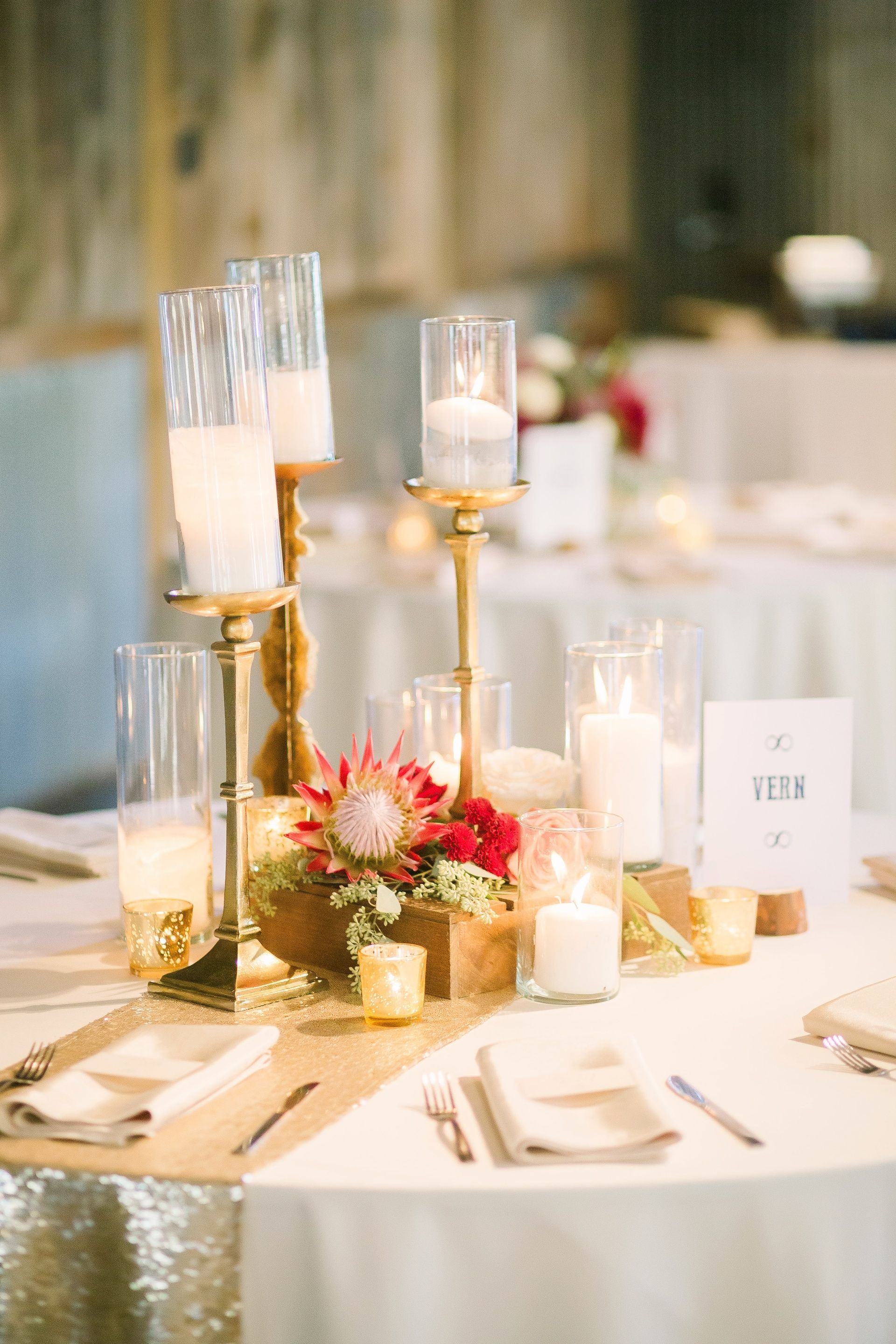 Glam Indoor Wedding Reception Table Decor Gold Candle Holders Gold S Sequin Table Runner Wedding Wedding Reception Table Decorations Gold Sequin Table Runner