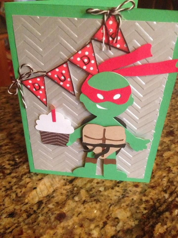 Ninja Turtle Birthday Card. For this card I used this free ...