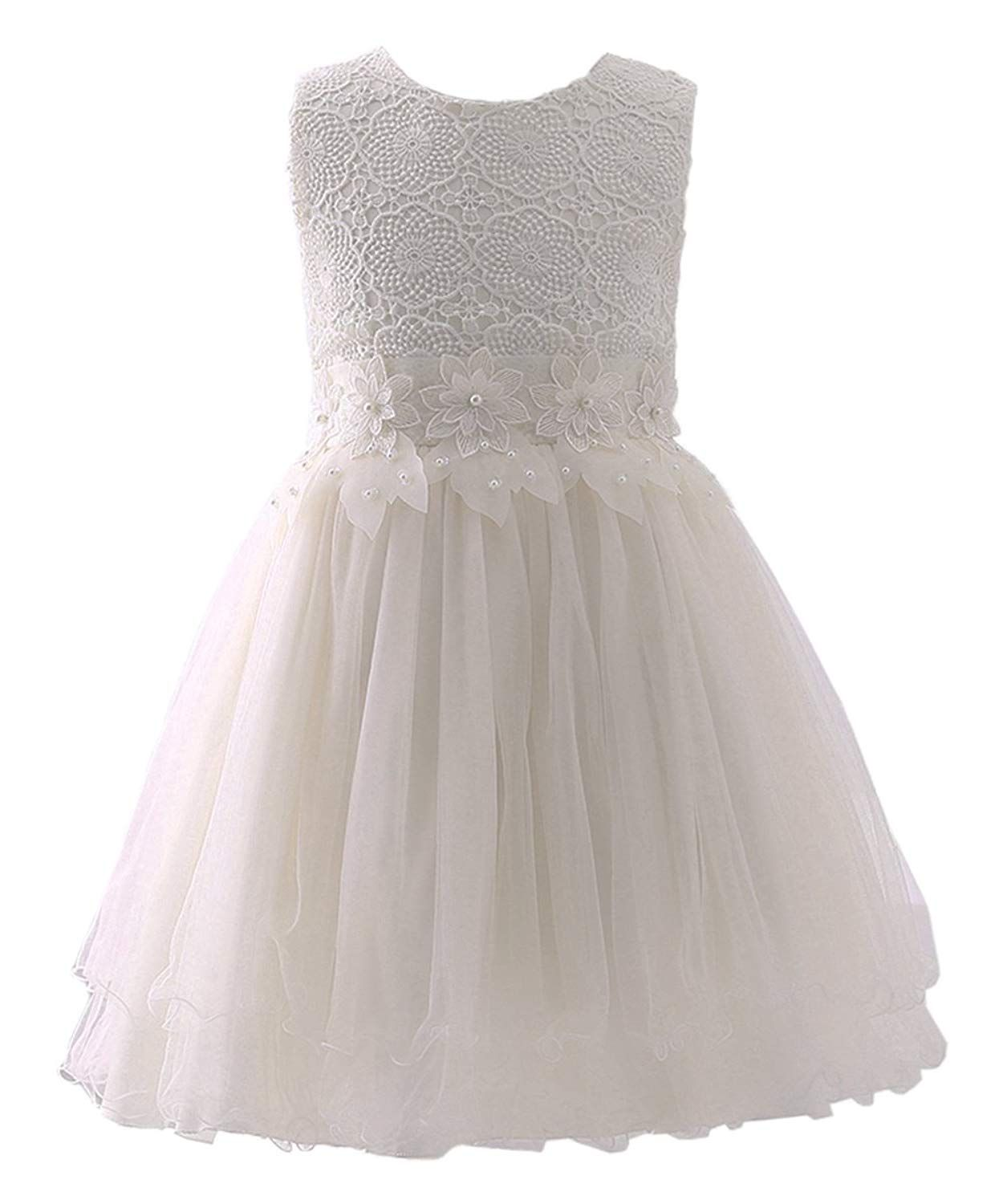 7f1732ee18d6 Amazon.com: Abaosisters Flower Girl Dress Lace Crochet Bow Sash Party Wear 6 -13 Year Old Ivory 10-11 yrs: Clothing