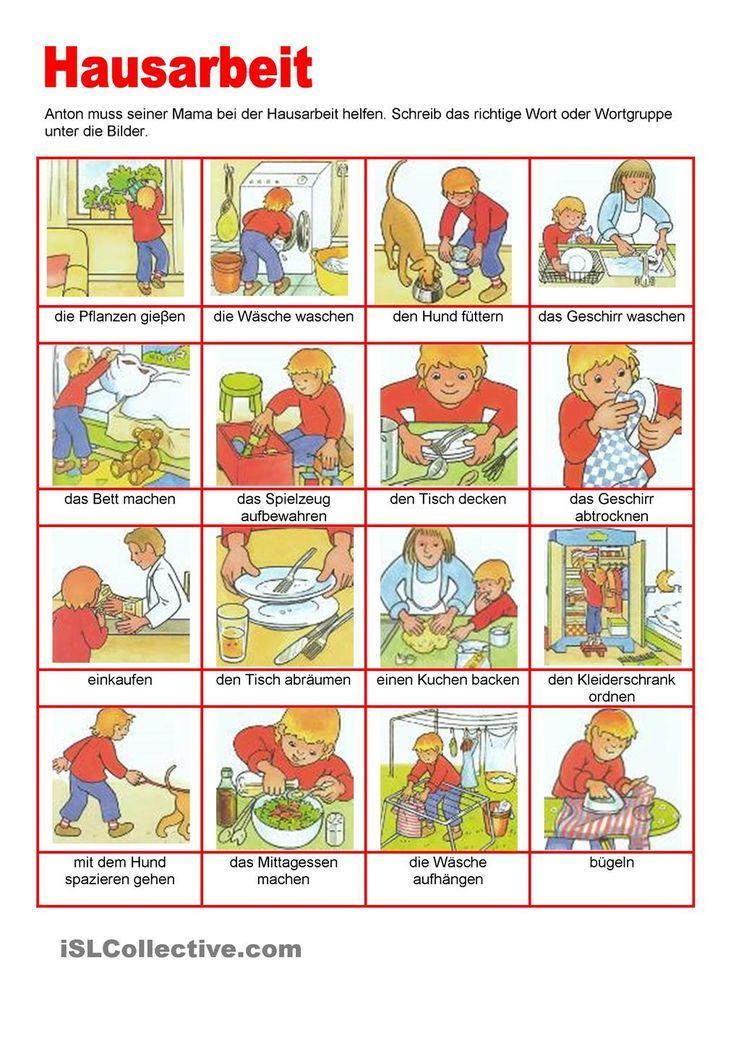 Bilderwörterbuch - Hausarbeit   Kinder: Ordnung & Hausarbeit ...