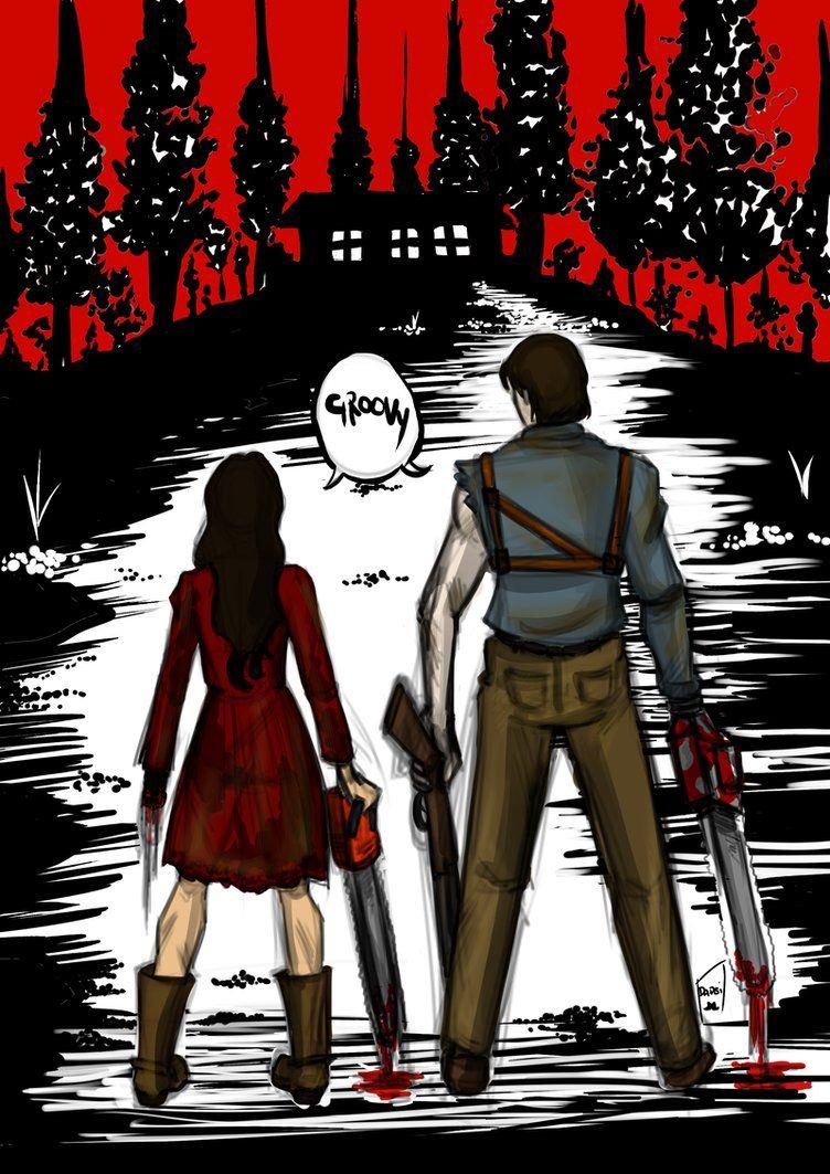 Evil Dead Ash And Mia Fan Art Evil Dead Movies Ash Evil Dead Evil Dead Book
