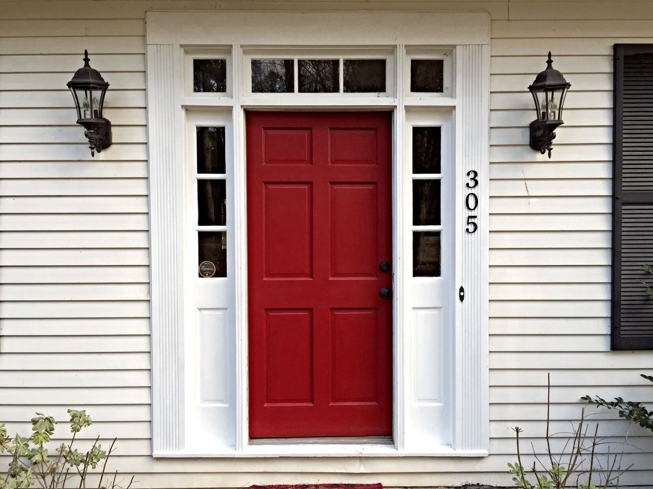 Our red door sherwin williams wild current in satin in for Exterior door paint