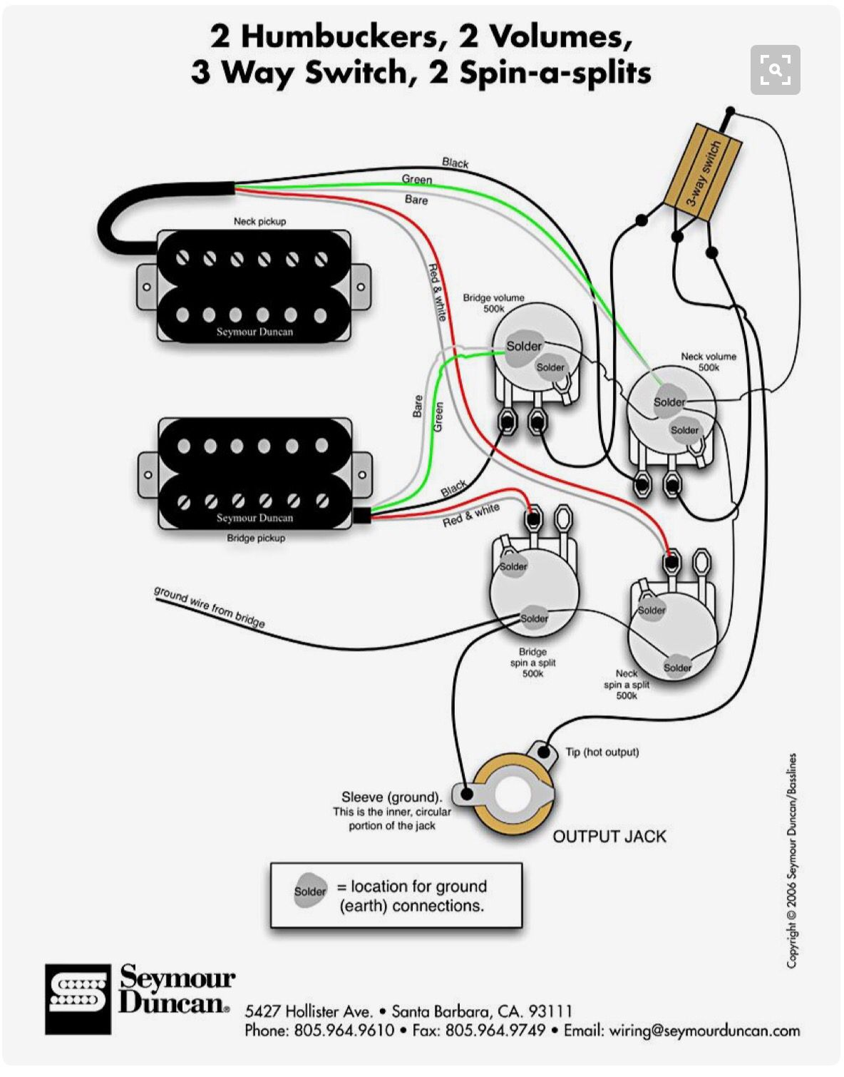 2 Humbuckers, 2 Volumes, 3WY Switch, 2 SpinASplits