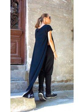 Asymmetric Short front Long back Blouse A02323 #Aakasha #long-short #high-low #asymmetric #elegant #unique #free #loose #soft #tunic