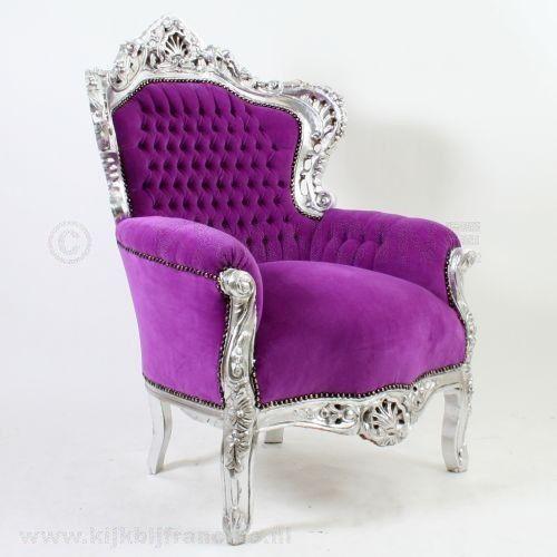 Fauteuil Barok Paars.Kopie Barok Fauteuil Zilver Paars Fluweel Paars Purple