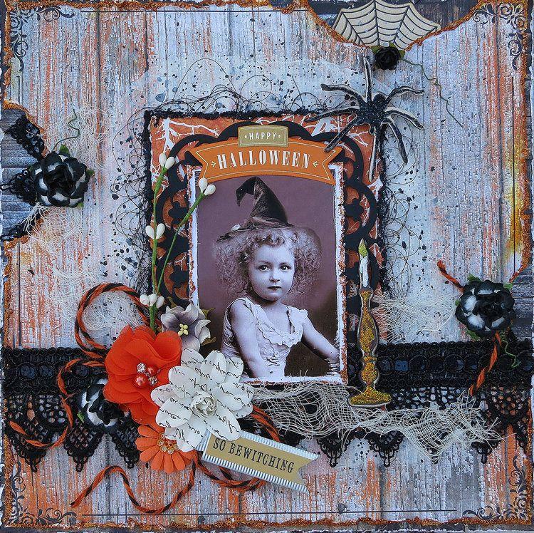 Recortes de kits del libro de recuerdos oscuridad: diseño de Halloween del vintage creado usando el kit frecuentada por Kathy