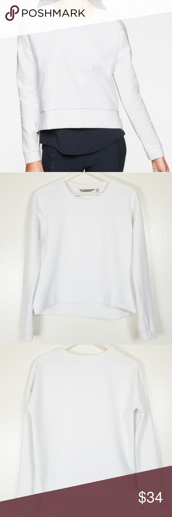 Athleta Modern Sweatshirt White White Sweatshirt Long Sleeve Sweatshirts Athleta [ 1740 x 580 Pixel ]