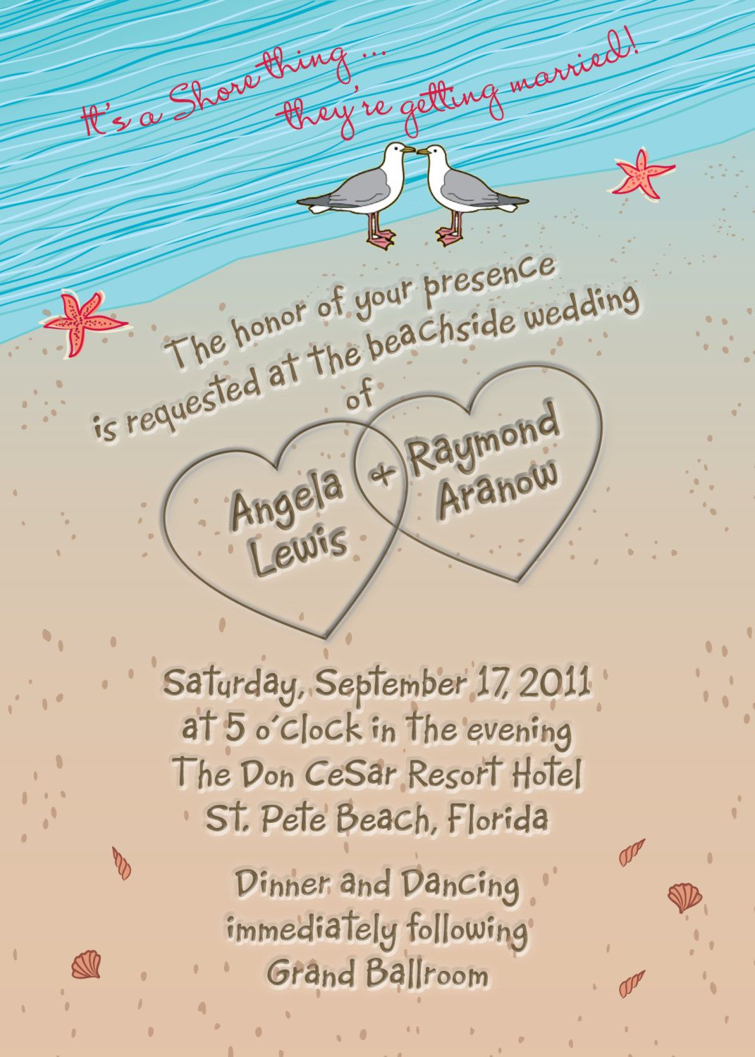 casual evening wedding invitation wording%0A beach wedding invitations   Beach wedding invitation with Hearts in sand  Seagulls and Seashells