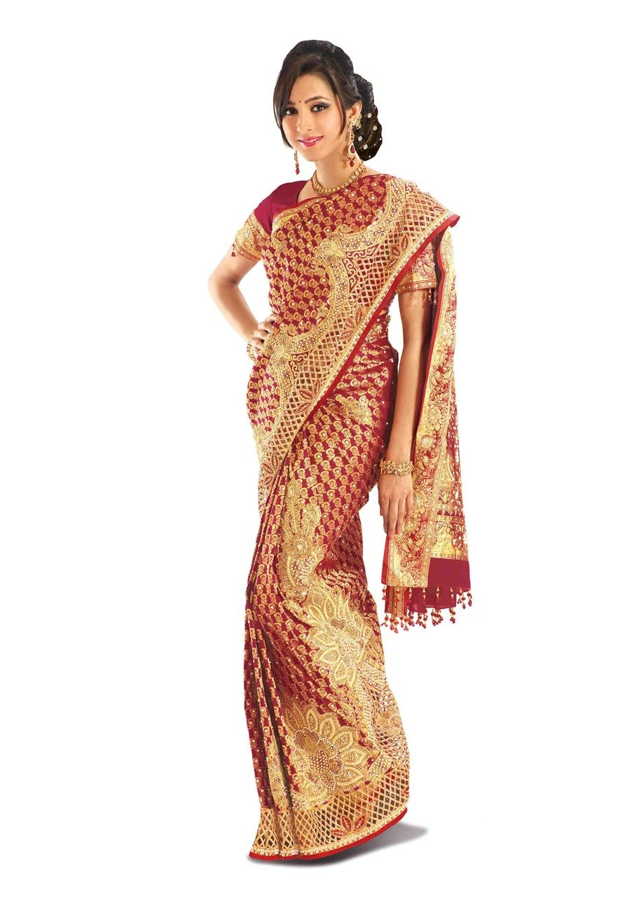 4da9672c87 Maroon brocade silk saree with rich floral design, gold embroidery and cut  work.