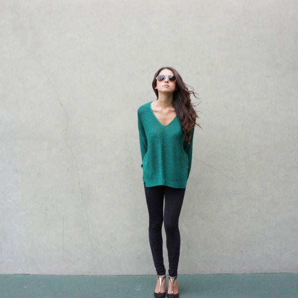 spring look, oversized sweater, turquoise sweater, summer // Wander With Love Blog