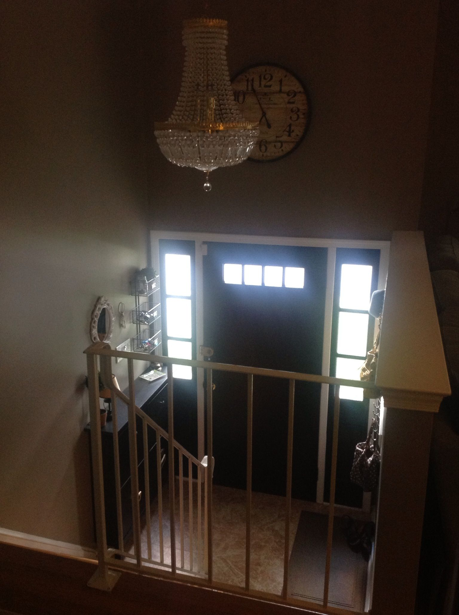 Split Entry Foyer Lighting : Like this idea would to mount the hemmes further
