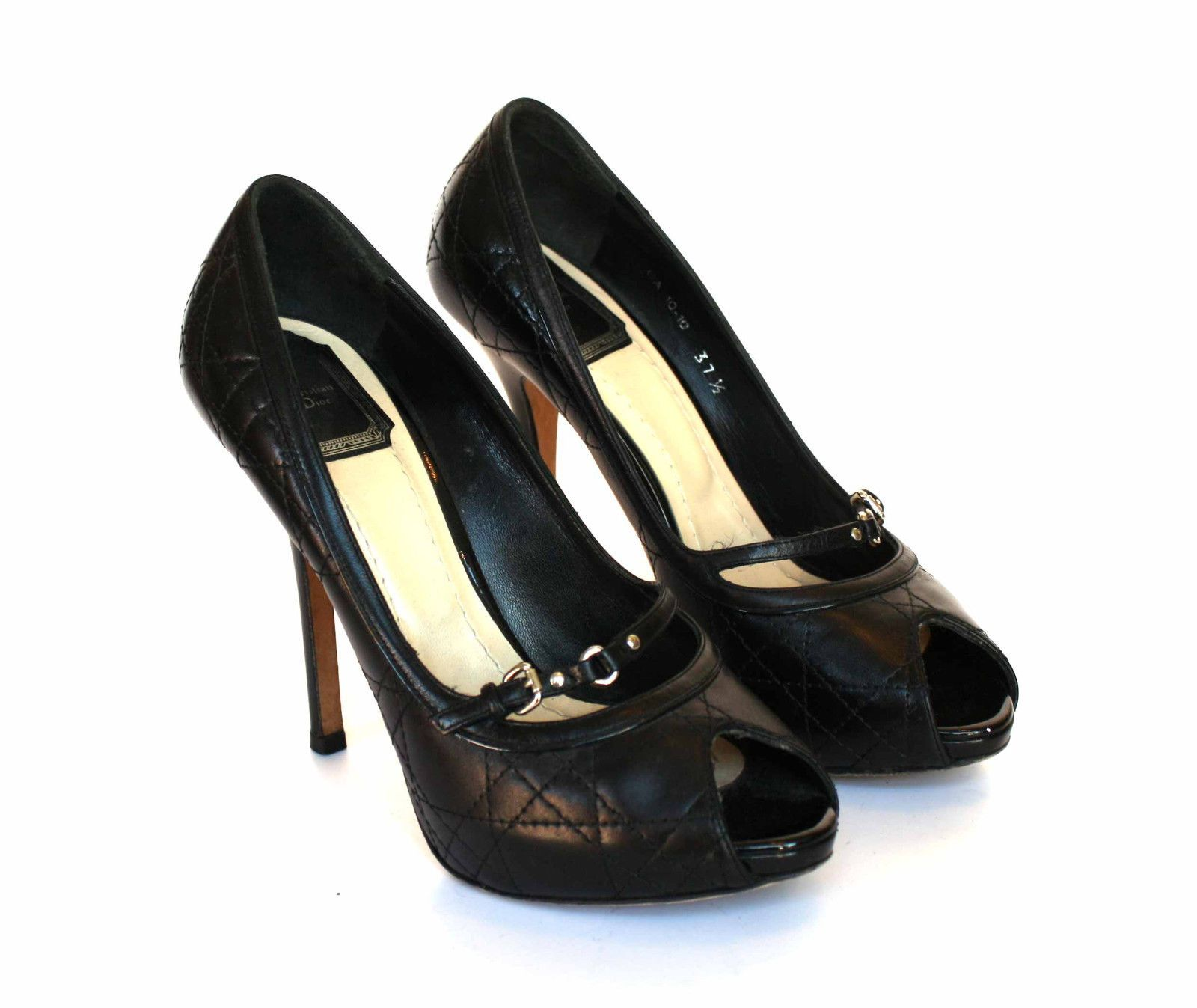 a0c6d7ded2 Christian Dior quilted black leather harness Mary Jane pumps, peep toe, 37.5