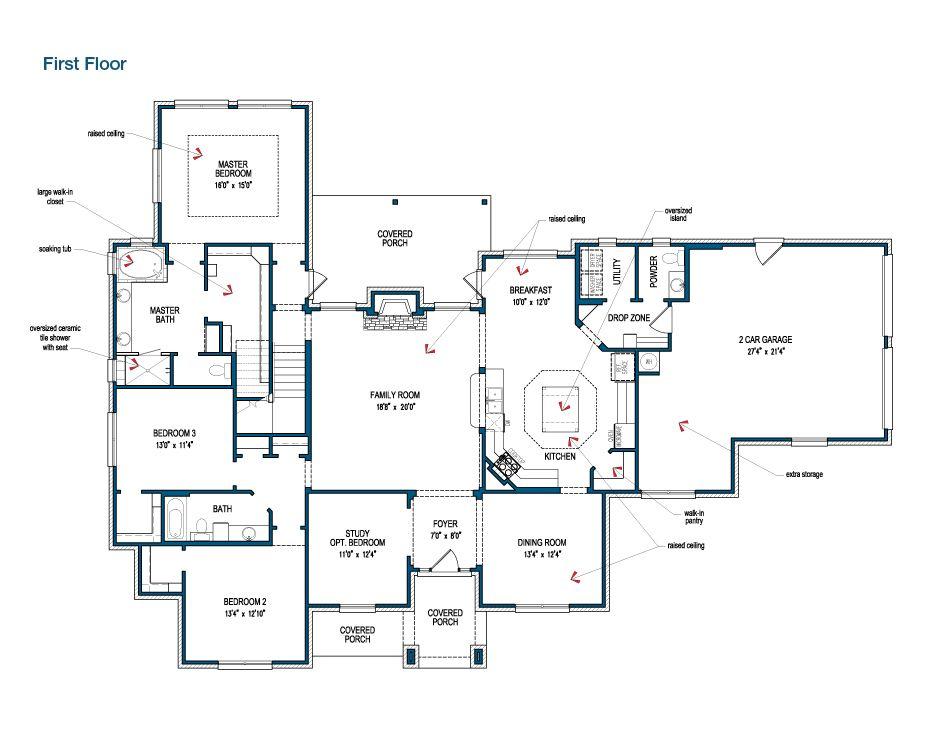Floor Plan Of The First Floor Of The Hillsboro By Tilson Homes Tilsonhomes Customhomebuilder Floor Plans House Floor Plans Custom Home Plans