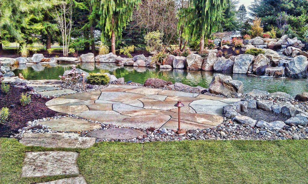 Pond, Trout Pond, Koi Pond, Stone Patio, Rock Patio, Waterfall,