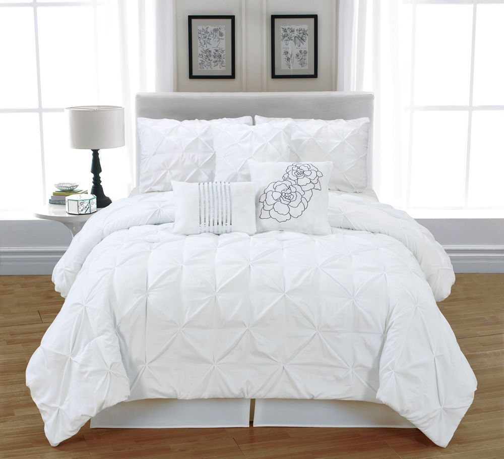 White King Bedding - 7 pc white tufted pinch pleat queen comforter set bed in a bag diamond puckered