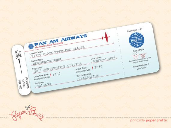 Printable Pan Am Style Airline Ticket/ Boarding by PaperBuiltShop - plane ticket invitation template