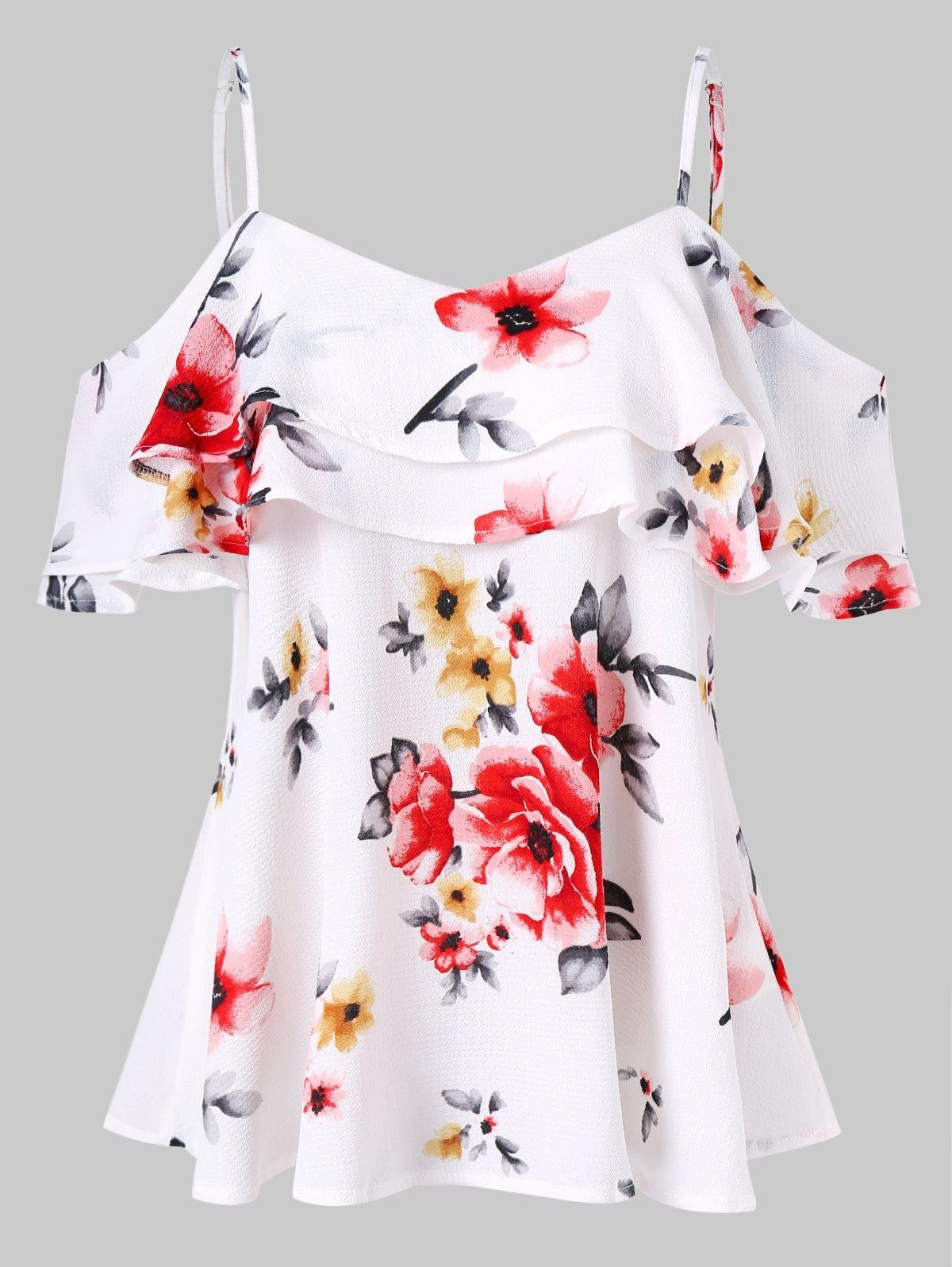 63796a4f1a15 Spaghetti Strap Floral Print Open Shoulder Blouse | Glam Gal ...