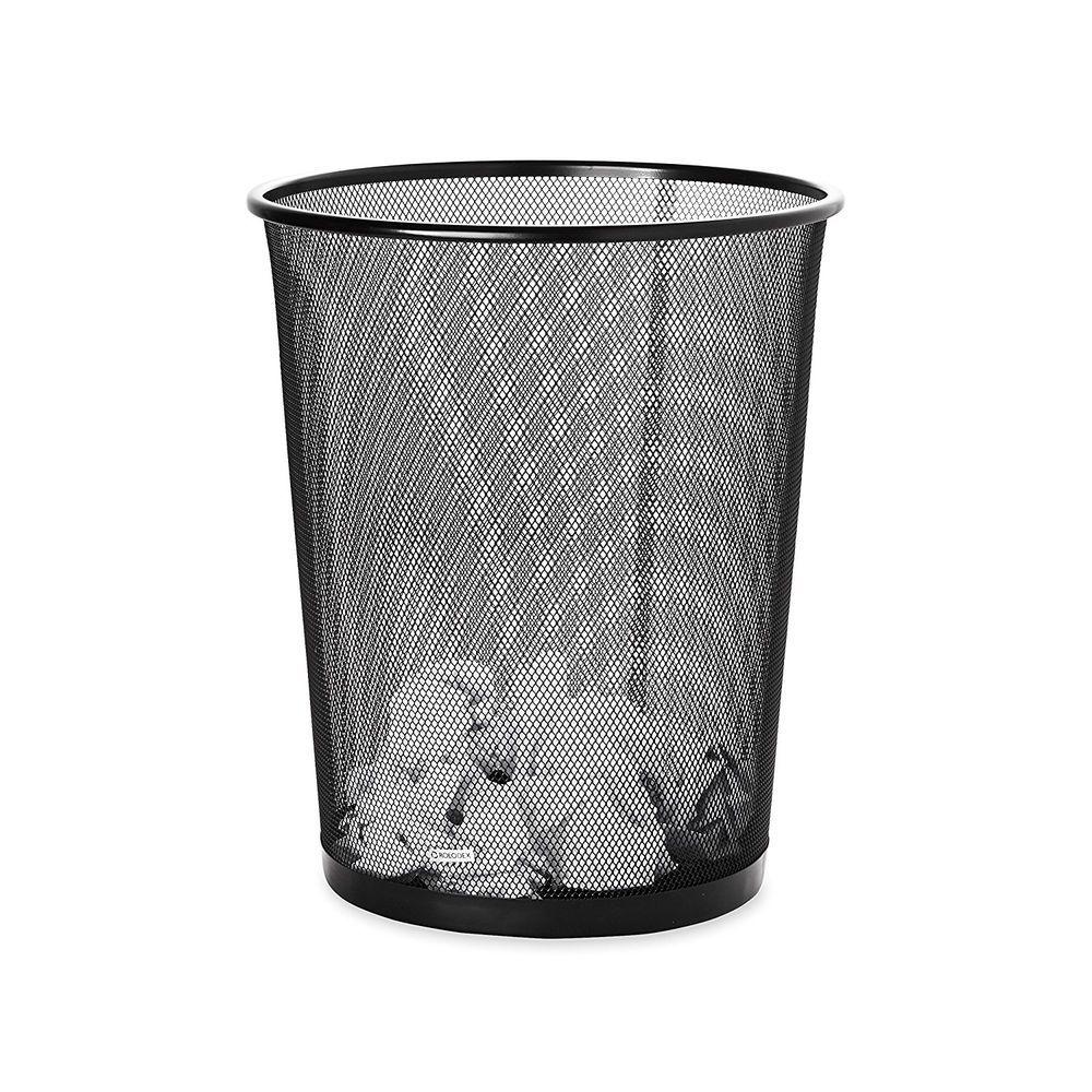Office Waste Basket Bin Trash Can Garbage Recycle Mesh Wastebasket Round  Steel #Rolodex