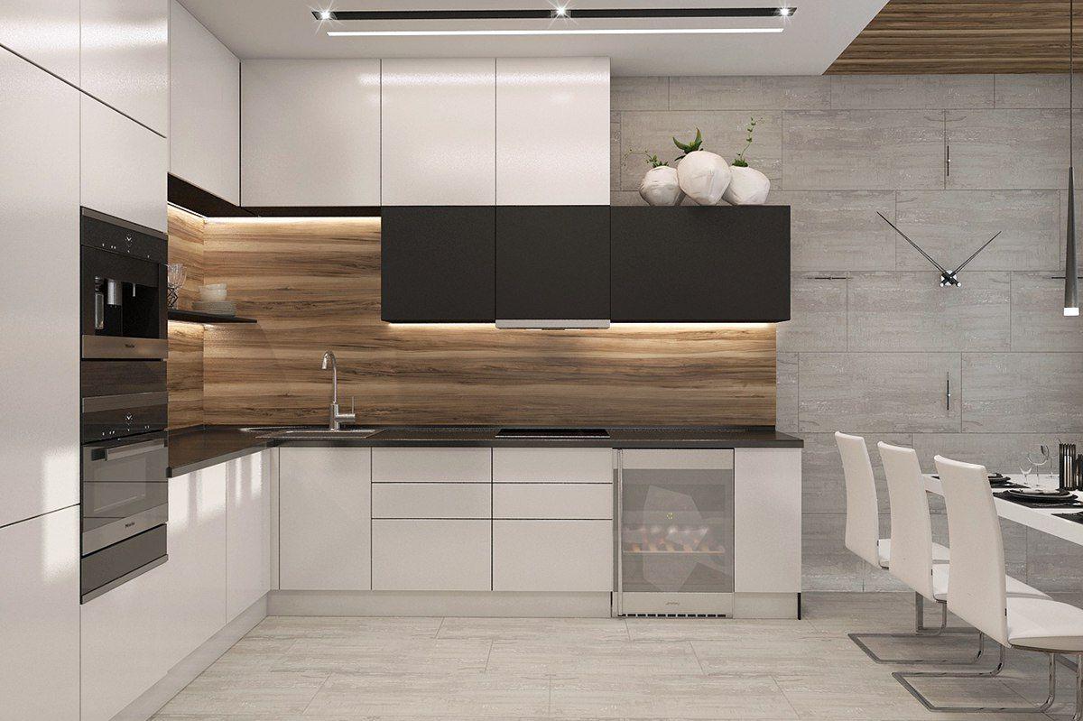Wood Paneled Backsplash Modern Kitchen Design Kitchen Cabinet Design Contemporary Kitchen