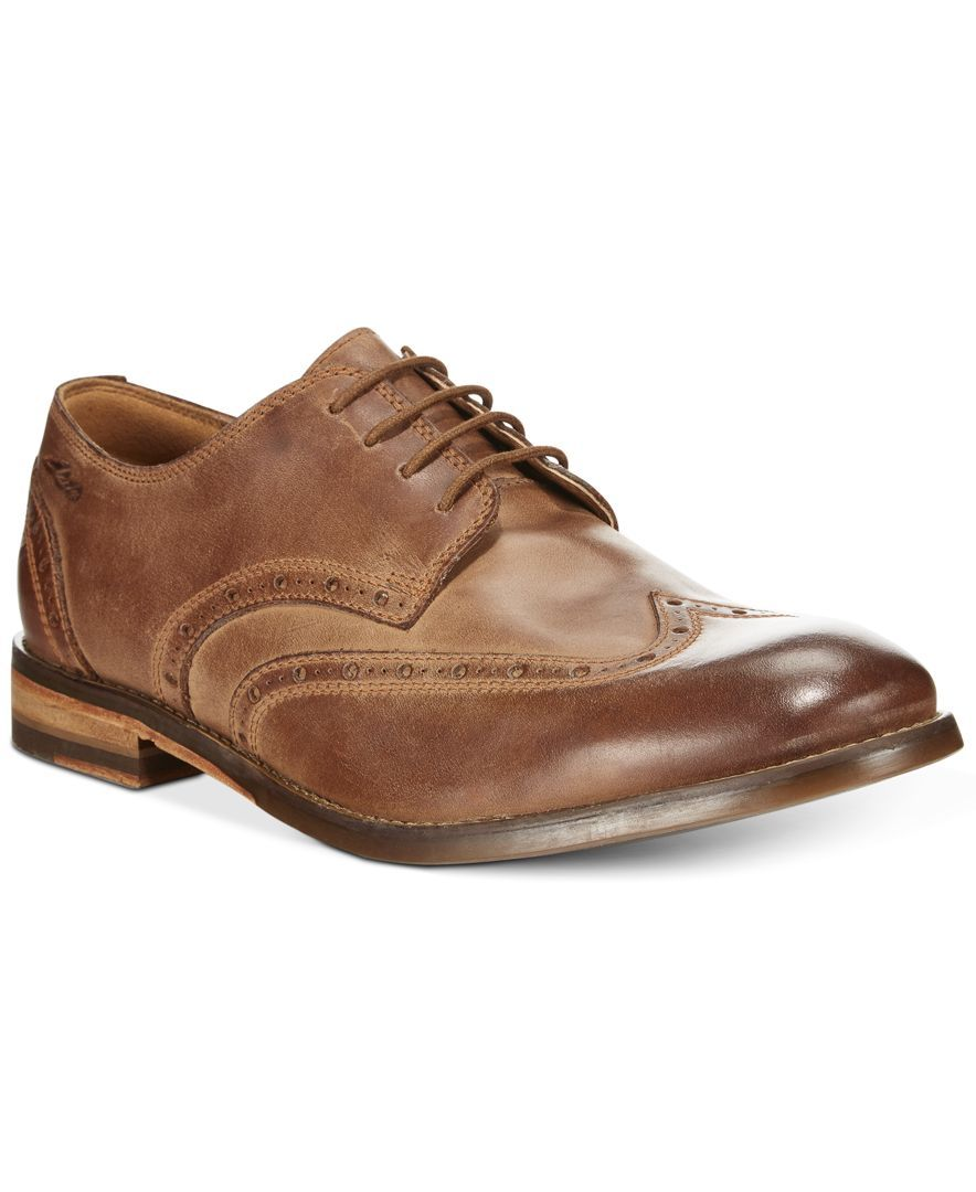 870b6d259 Clarks Exton Brogue Wing Tip Lace Up Shoes