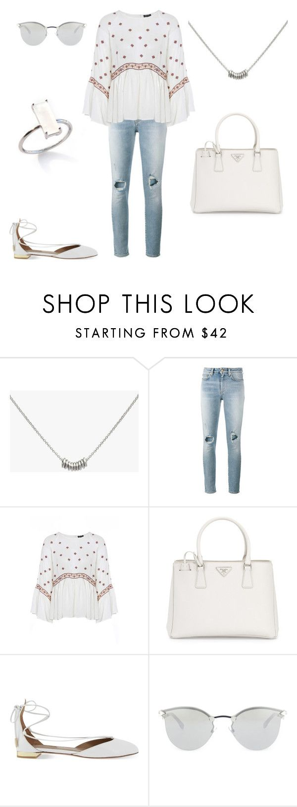 """""""Spring Weekend Look"""" by bshujewelry ❤ liked on Polyvore featuring Yves Saint Laurent, Prada, Aquazzura and Fendi"""