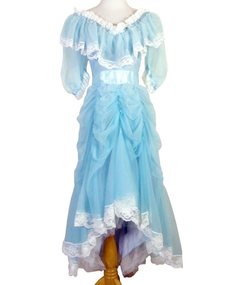 Vtg 70s 80s Minty Light Blue Puffy Princess Sleeve Prom Dress Big Bow Chiffon 32 Prom Dresses With Sleeves Princess Sleeves Womens 70s Fashion [ 1000 x 800 Pixel ]