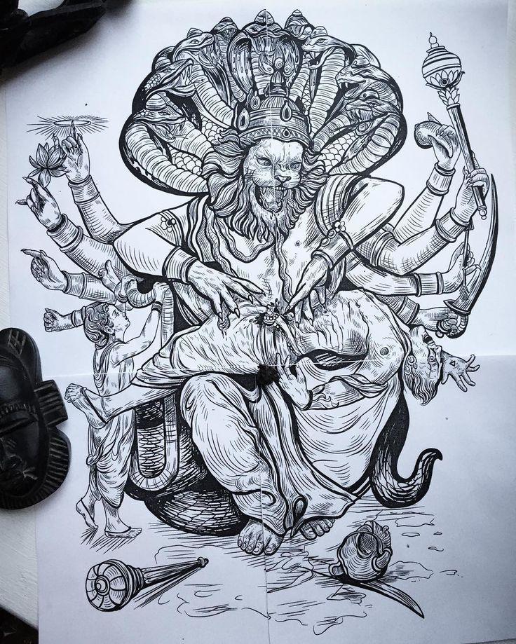 by lesyale_ art illustration tattoo lion hand snake