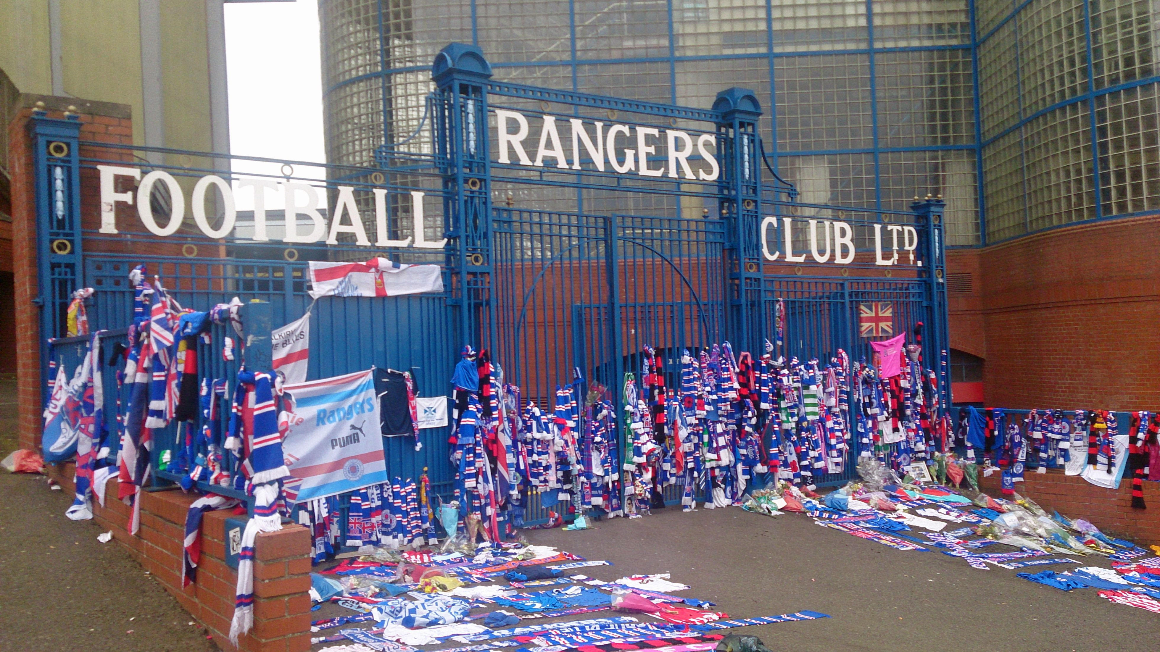 This is a shot of the Sandy Jardine Memorial, at the gates of Ibrox Stadium.