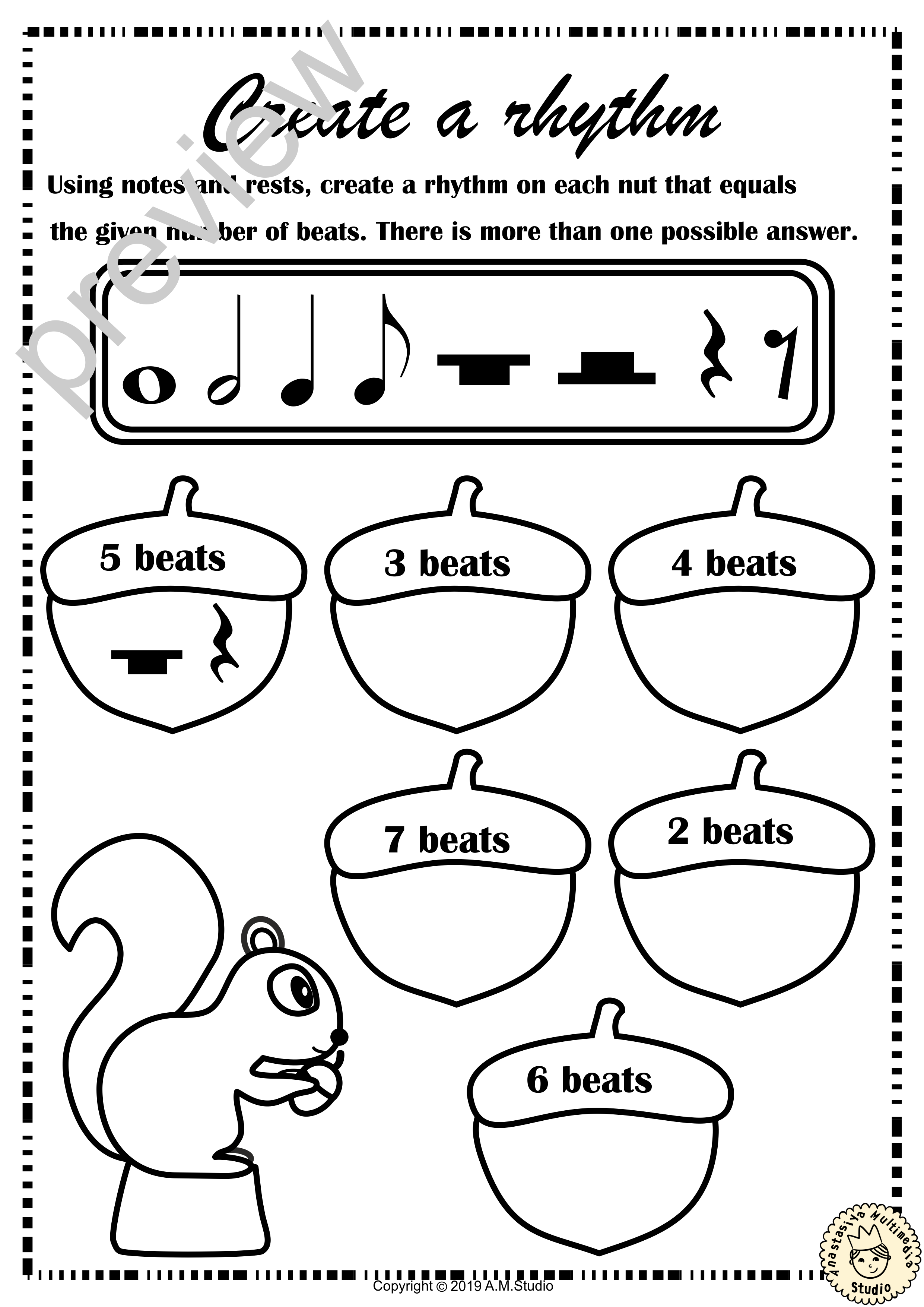 Fall Music Rhythm Worksheets For Beginners With Answers