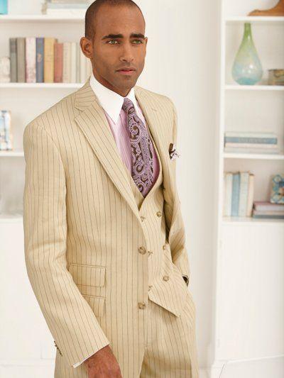 Linen & Wool Two-Button Notch Lapel Stripe Three Piece Suit from Paul Fredrick