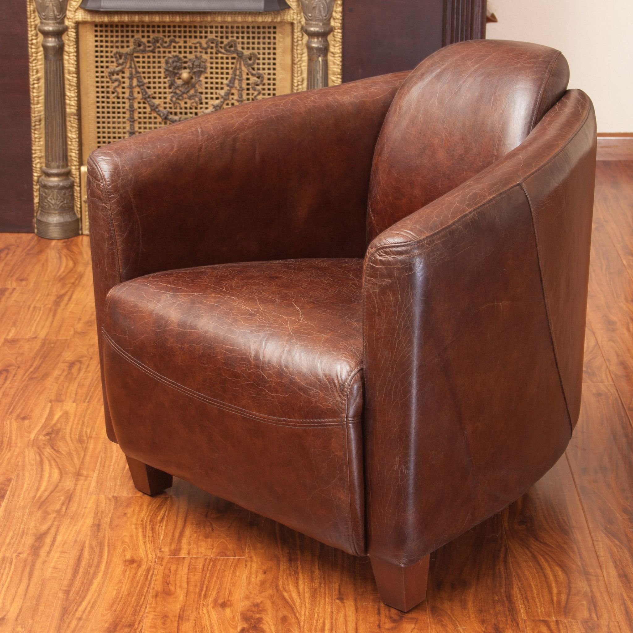 Merveilleux Abram Brown Top Grain Leather Club Chair