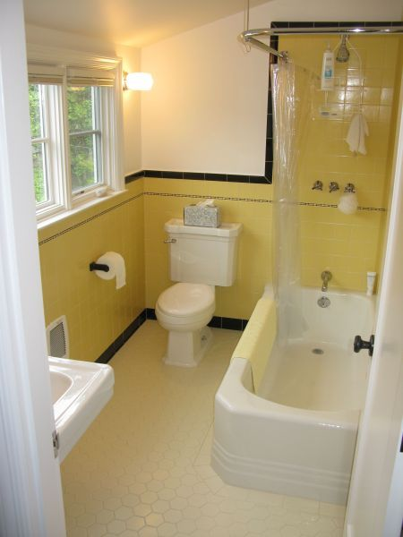 Pretty yellow and black tile bathroom in a Pasadena house ...