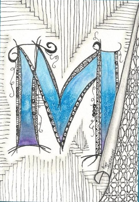 I love the way this artist incorporated a patterned background behind her Zenspirations(TM) monogram M