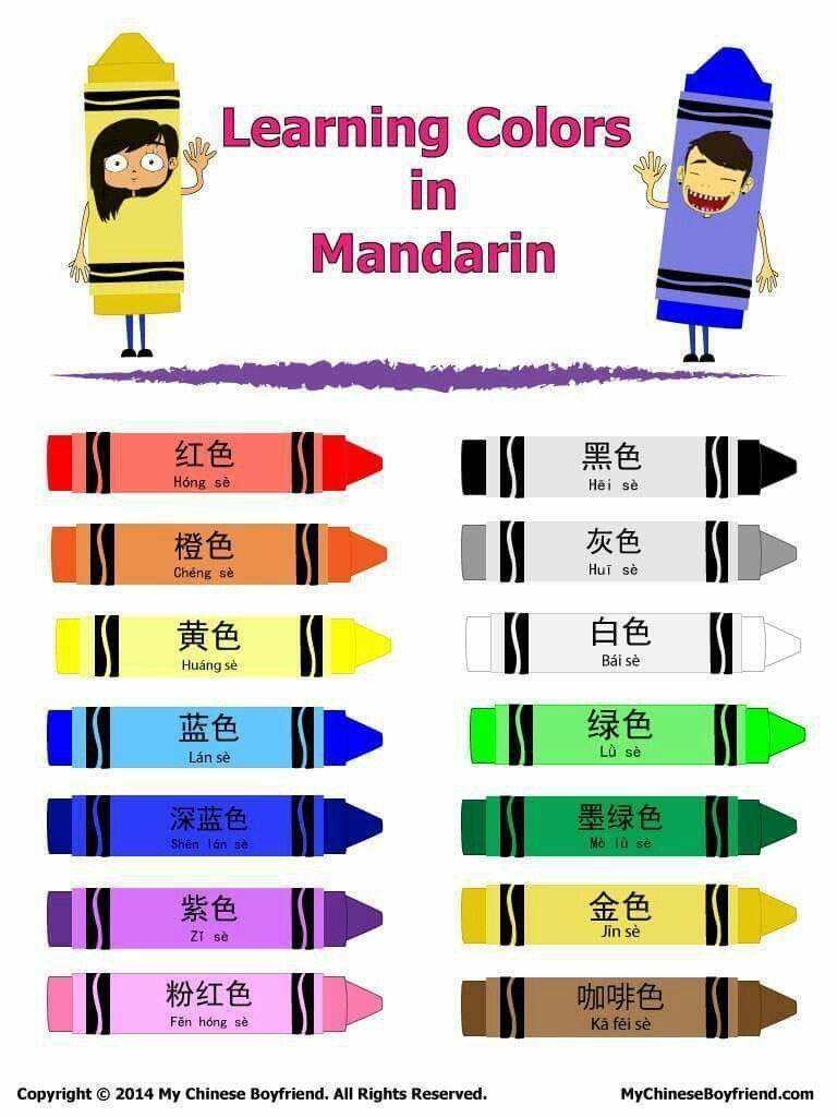 Colores Clases De Chino Idioma Chino Mandarin Aprender Chino