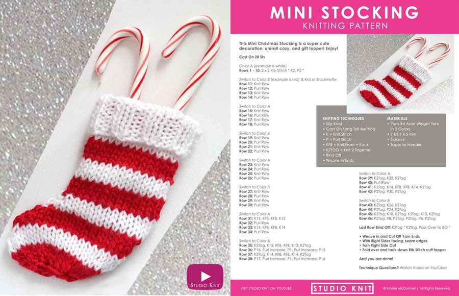 How To Knit A Mini Christmas Stocking For The Holidays Knitting