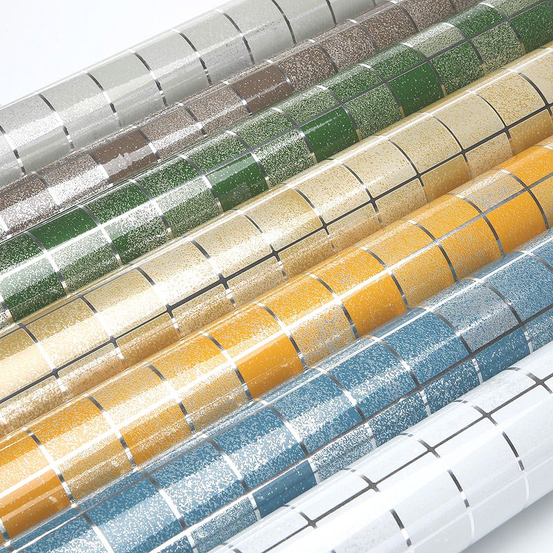 10meter Aluminum Foil Self Adhesive Mosaic Stickers Kitchen Anti Oil Wallpaper High Temperature Vinyl Waterproof Wall Sticker Keramik Dinding Gambar