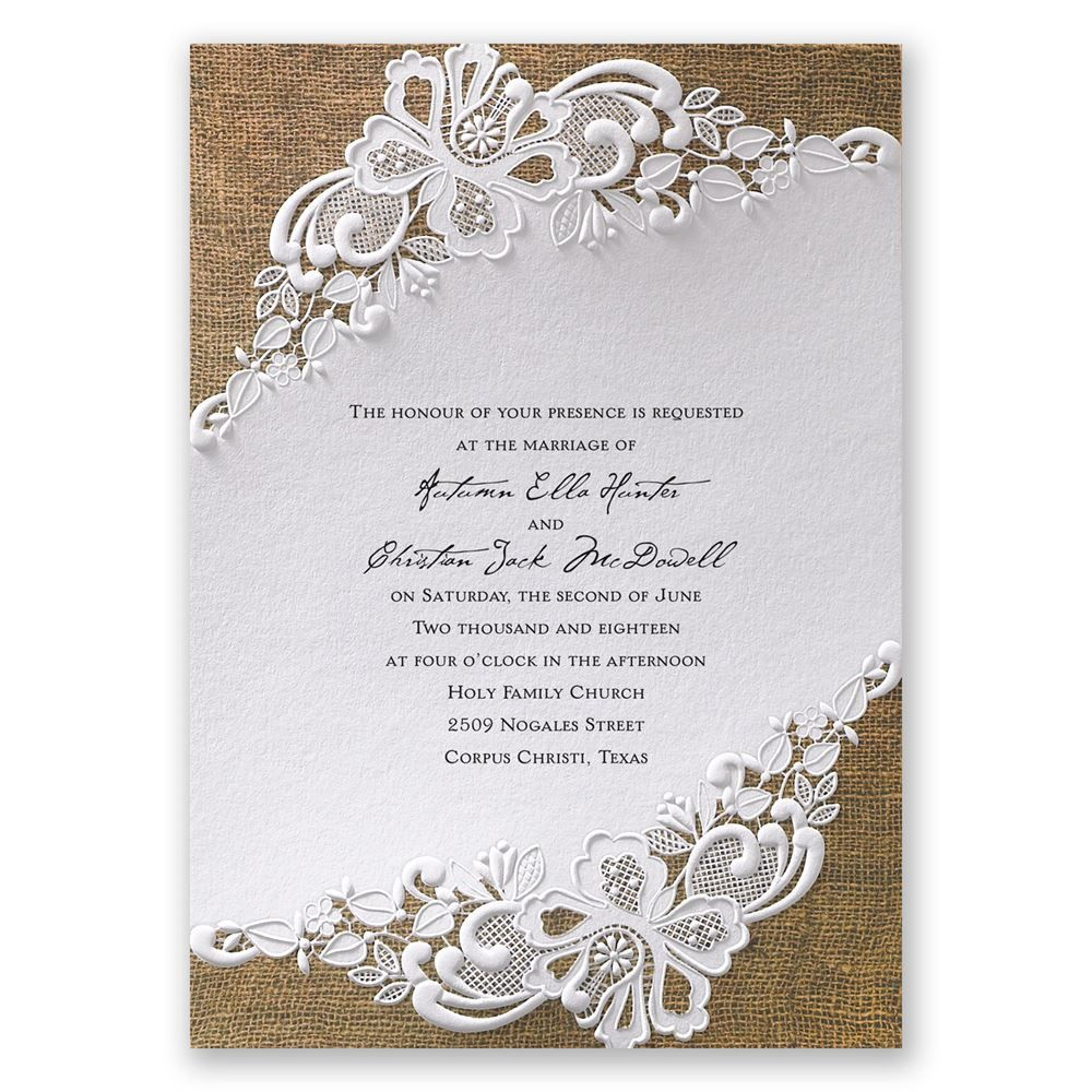 A Beautifully Designed Wedding Invitation With Embossed Lace Cover And Rustic Burlap Background